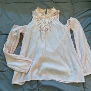 Pink lace Long Sleeve Blouse